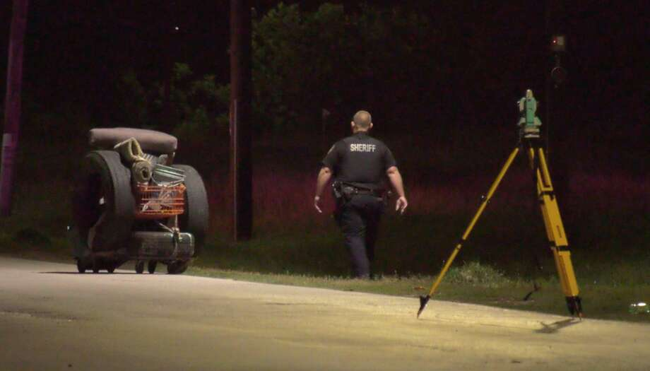Harris County sheriff's deputies investigate a deadly auto-pedestrian colission in the 4200 block of Langley Road on Sunday, June 28, 2020. Photo: OnScene.TV