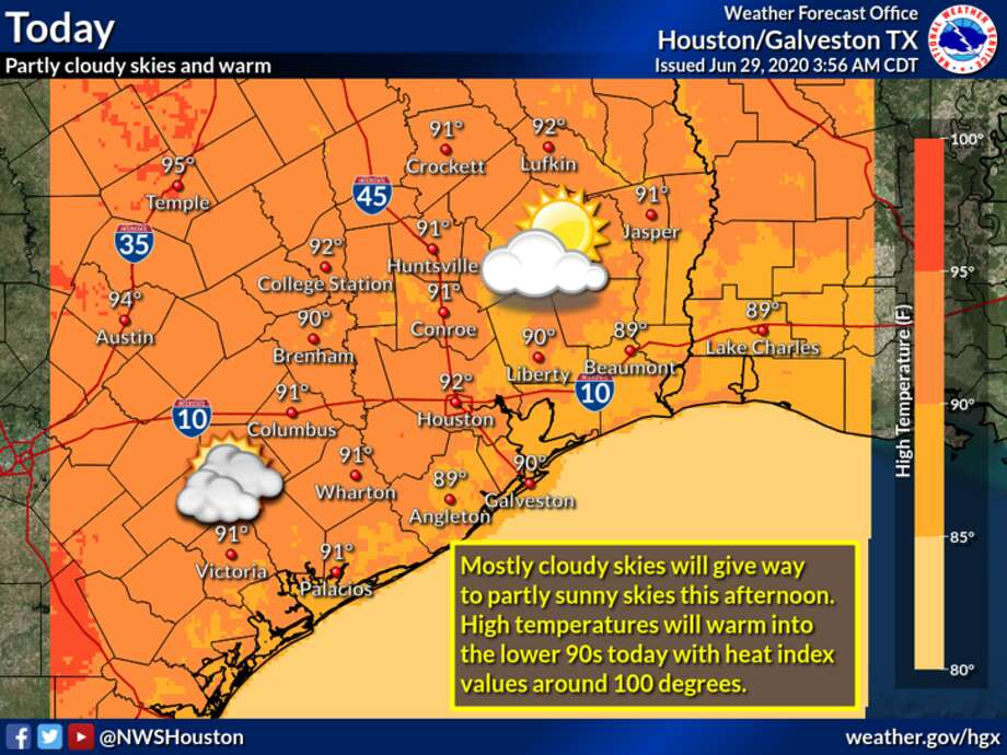 Heat is the main factor in Houston's forecast for Monday, June 29, 2020. Photo: National Weather Service