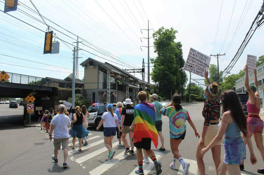 Nearly 100 showed up for a Black Lives Matter and Pride Month protest and open mic on Sunday, June 28. Photo: Meaghan Dempsey