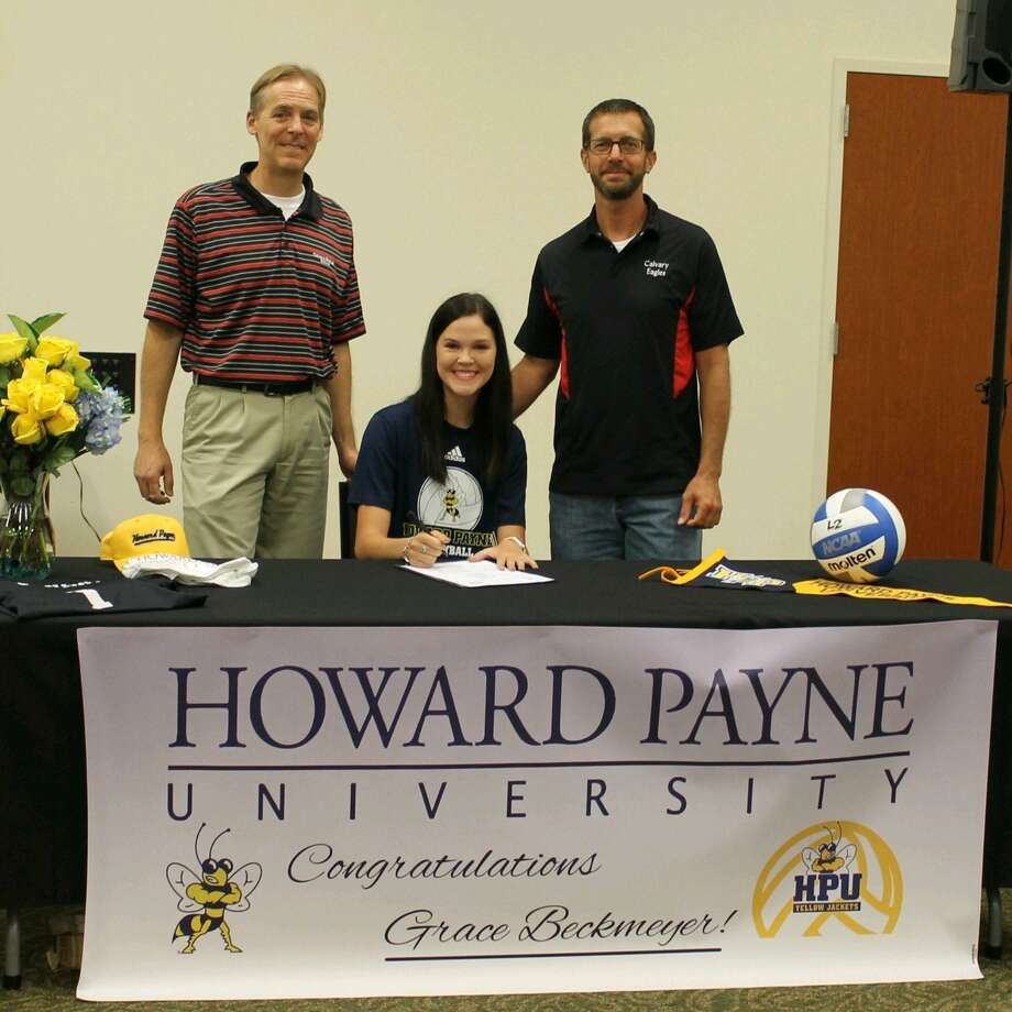 """Grace Beckmeyer, a 2020 graduate of Calvary Baptist School, signed to play volleyball for Howard Payne University recently. From coach Mike Riggens """"I enjoyed coaching Grace these last two years. Always eager to learn ways to improve her skills, Grace's tremendous work ethic resulted in setting the standard for the team. I'm so proud of her accomplishments and look forward to seeing her play at the next level."""" Photo: Submitted"""