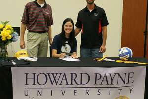 """Grace Beckmeyer, a 2020 graduate of Calvary Baptist School, signed to play volleyball for Howard Payne University recently. From coach Mike Riggens """"I enjoyed coaching Grace these last two years. Always eager to learn ways to improve her skills, Grace's tremendous work ethic resulted in setting the standard for the team. I'm so proud of her accomplishments and look forward to seeing her play at the next level."""""""