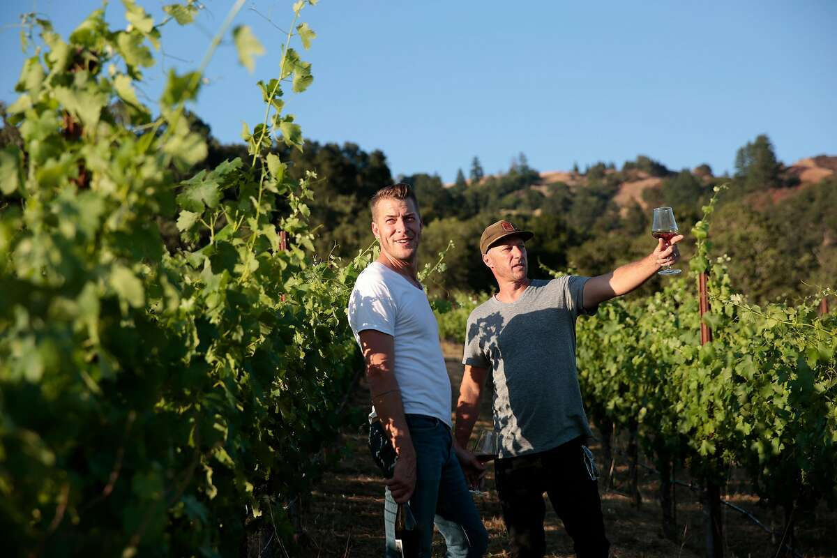 Winemakers Sam Bilbro of Idlewild Wines, left, and Mike Lucia of Rootdown Wines walk through the Arneis vineyard of Lost Hills Ranch in Yorkville, California, Thursday, June 25, 2020. Ramin Rahimian/Special to The Chronicle � Winemakers Sam Bilbro (Idlewild Wines), Evan Lewandowski (Ruth Lewandowski Wines), and Mike Lucia (Rootdown Wines) pose for a portrait in the vineyard of Lost Hills Ranch in Yorkville, California, Thursday, June 25, 2020. The three winemakers are working with Alpine grape varieties (grapes from or near the European Alps) such as Nebbiolo, Trousseau, and Arneis grown in vineyards in Mendocino County