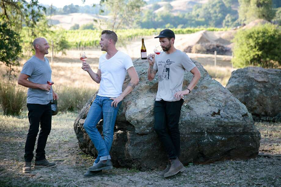 Winemakers Mike Lucia (left) Sam Bilbro (center) and Evan Lewandowski all operate their own wineries, and are close friends. Photo: Ramin Rahimian / Special To The Chronicle