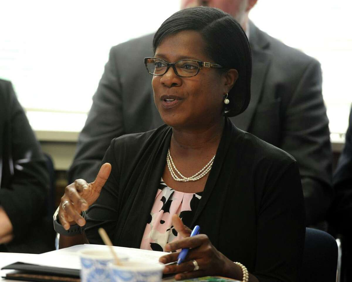 Miriam Delphin-Rittmon, Department of Mental Health & Addiction Services commissioner, speaks at a roundtable discussion at the Kinsella Treatment Center in Bridgeport, Conn. in 2018.
