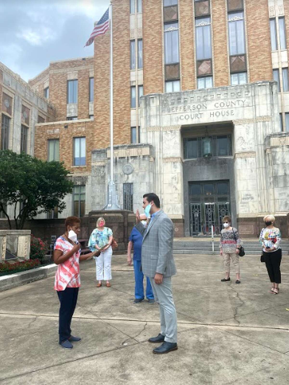 Joseph Trahan, 24, on Monday morning was sworn in on the steps of the Jefferson County Courthouse to become the county Democratic Party's youngest chairman.
