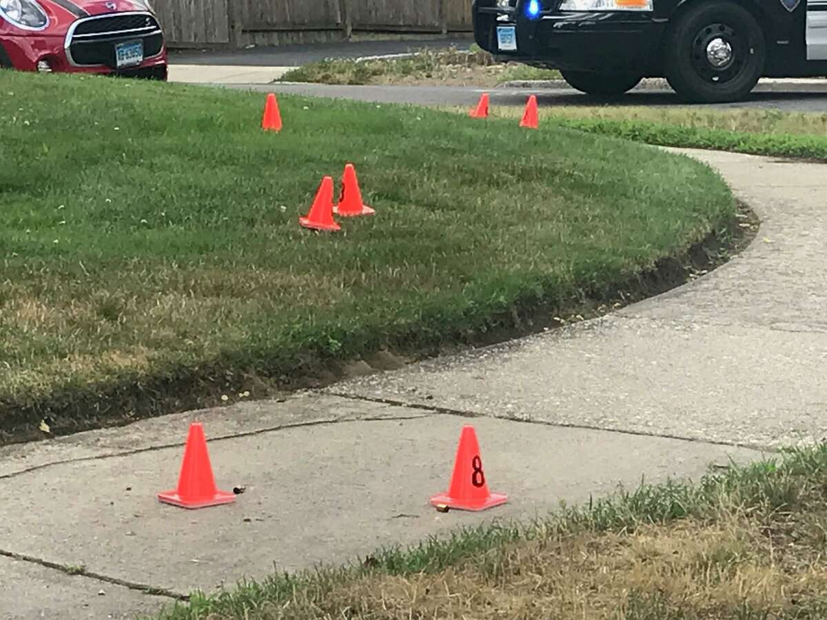 Stamford police investigate after shots were fired Monday morning on Riverside Avenue.