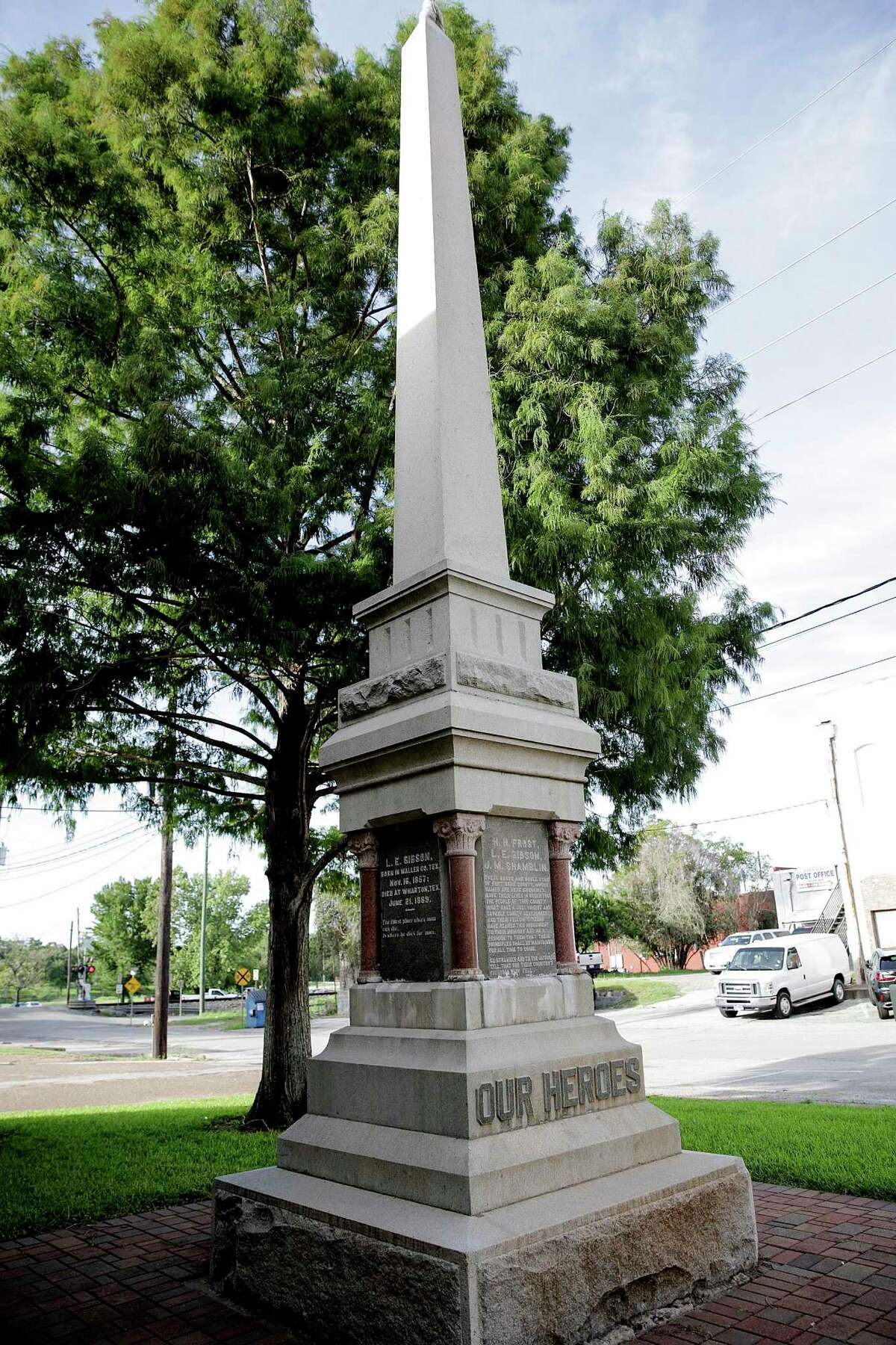 A monument in downtown Richmond honors three members of the whites-only Jaybird Party who died in a clash with members of the Woodpecker Party during the late 19th Century. Photos in downtown Richmond, Texas, on Wednesday, Aug. 16, 2017