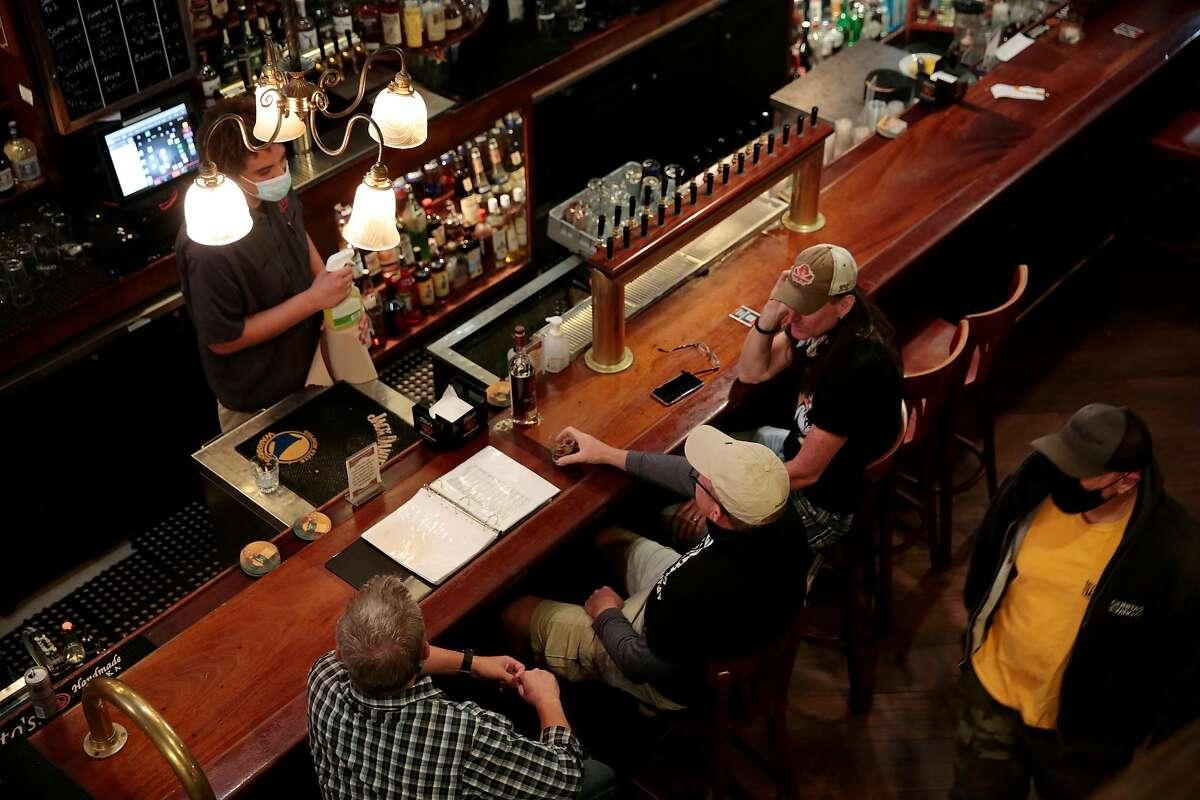 The bar at McNear's Saloon and Dining House in Petaluma, California, Saturday, June 27, 2020.