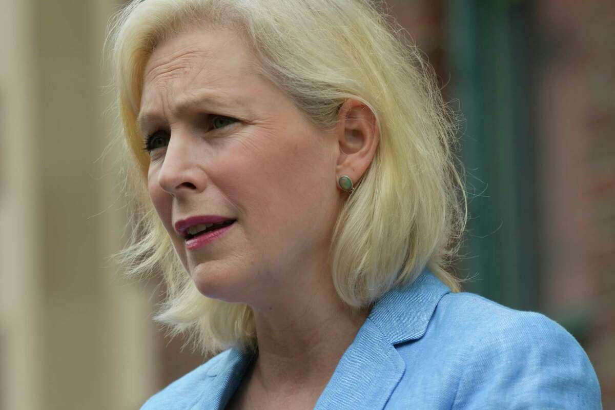 Senator Kirsten Gillibrand speaks outside the Arbor Hill Center of the Trinity Alliance of the Capital Region on Monday, June 29, 2020, in Albany, N.Y. (Paul Buckowski/Times Union)