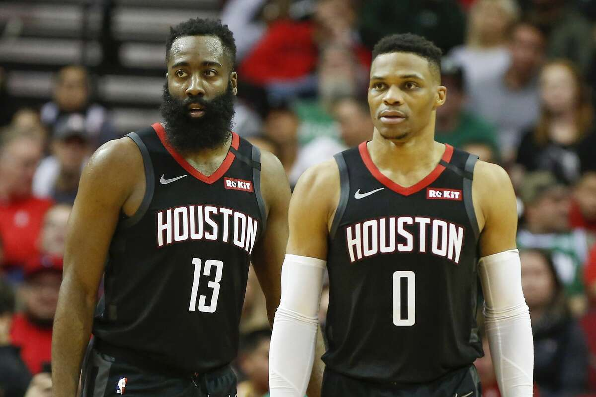 The Rockets' superstar backcourt of James Harden (13) and Russell Westbrook and the team's embracing of small ball figure to be among the intriguing storylines when the NBA restarts its season in suburban Orlando in late July.