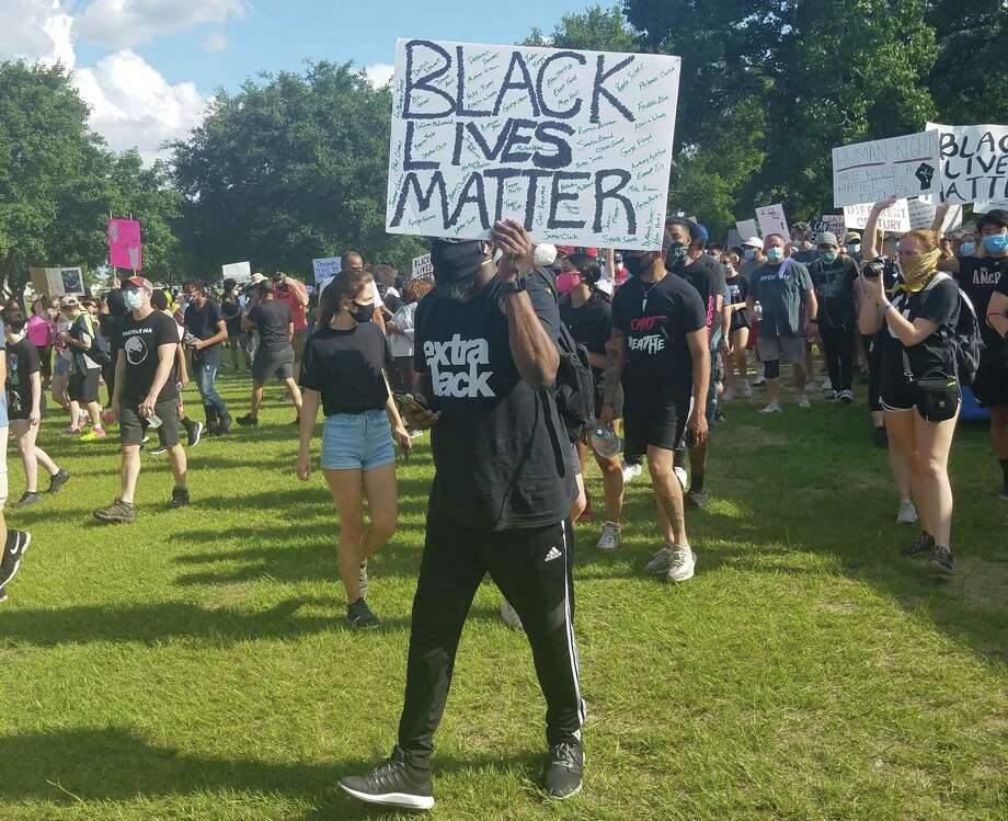 More than 3,000 protesters turn out for a student-led Black Lives Matter rally in Katy on June 4. Photo: Claire Goodman / Staff Writer
