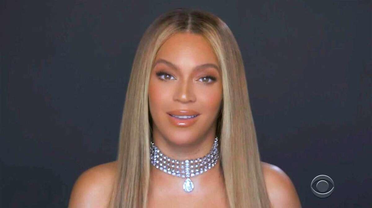 Beyoncé accepts the humanitarian award during the BET Awards.