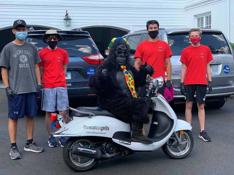 New Canaan's Gorilla greeter joined SLOBs members Connor Ho, Braydon Bavoso, Christian Triay and Jack Marshall. Photo: Contributed Photo