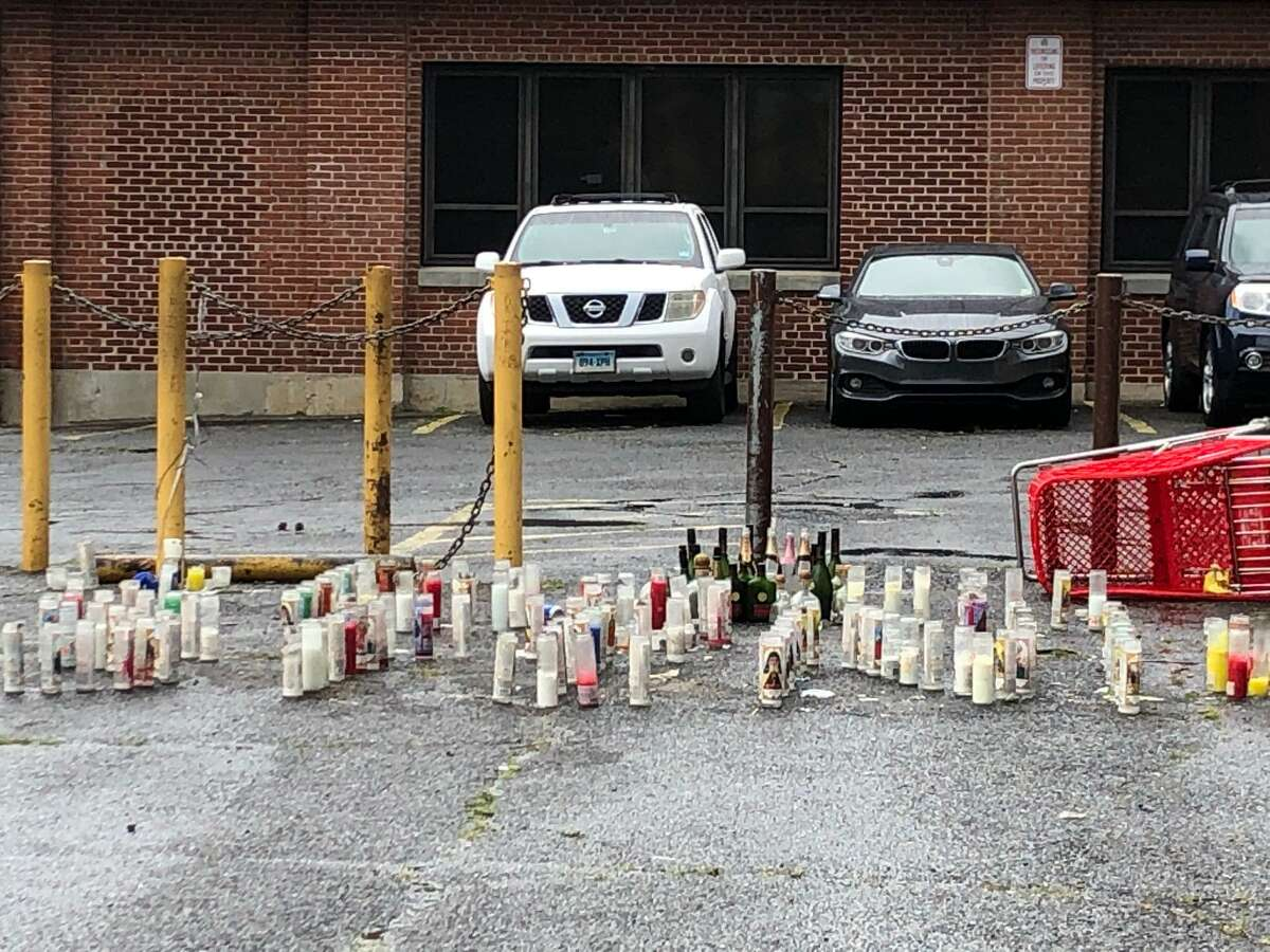 Candles have been placed at the spot where Eugene