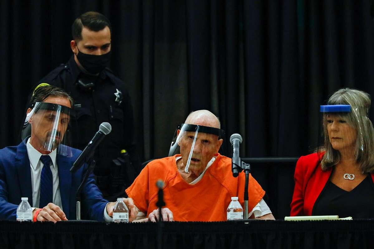 Joseph DeAngelo (center) listens during the start of court proceedings where he is expected to plead guilty for crimes linked to the Golden State Killer, June 29, 2020 in Sacramento.