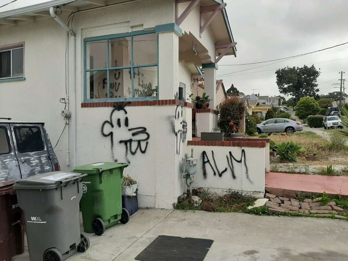 """An Oakland home belonging to a Black family was defaced with the phrase """"all lives matter"""" and other graffiti."""