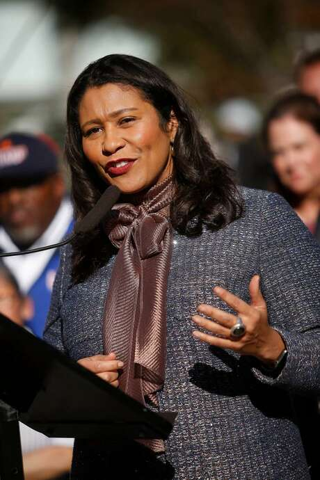 Mayor London Breed speaks at a press conference at Union Square on Monday, December 16, 2019 in San Francisco, Calif.
