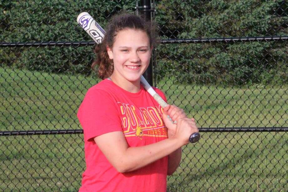 Ella Newman works on her hitting during a Warrior Nation practice. (Pioneer photo/John Raffel)