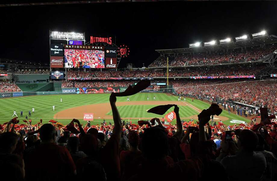 Washington Nationals fans cheer during the World Series in October 2019 in Washington. Photo: Washington Post Photo By Katherine Frey / The Washington Post