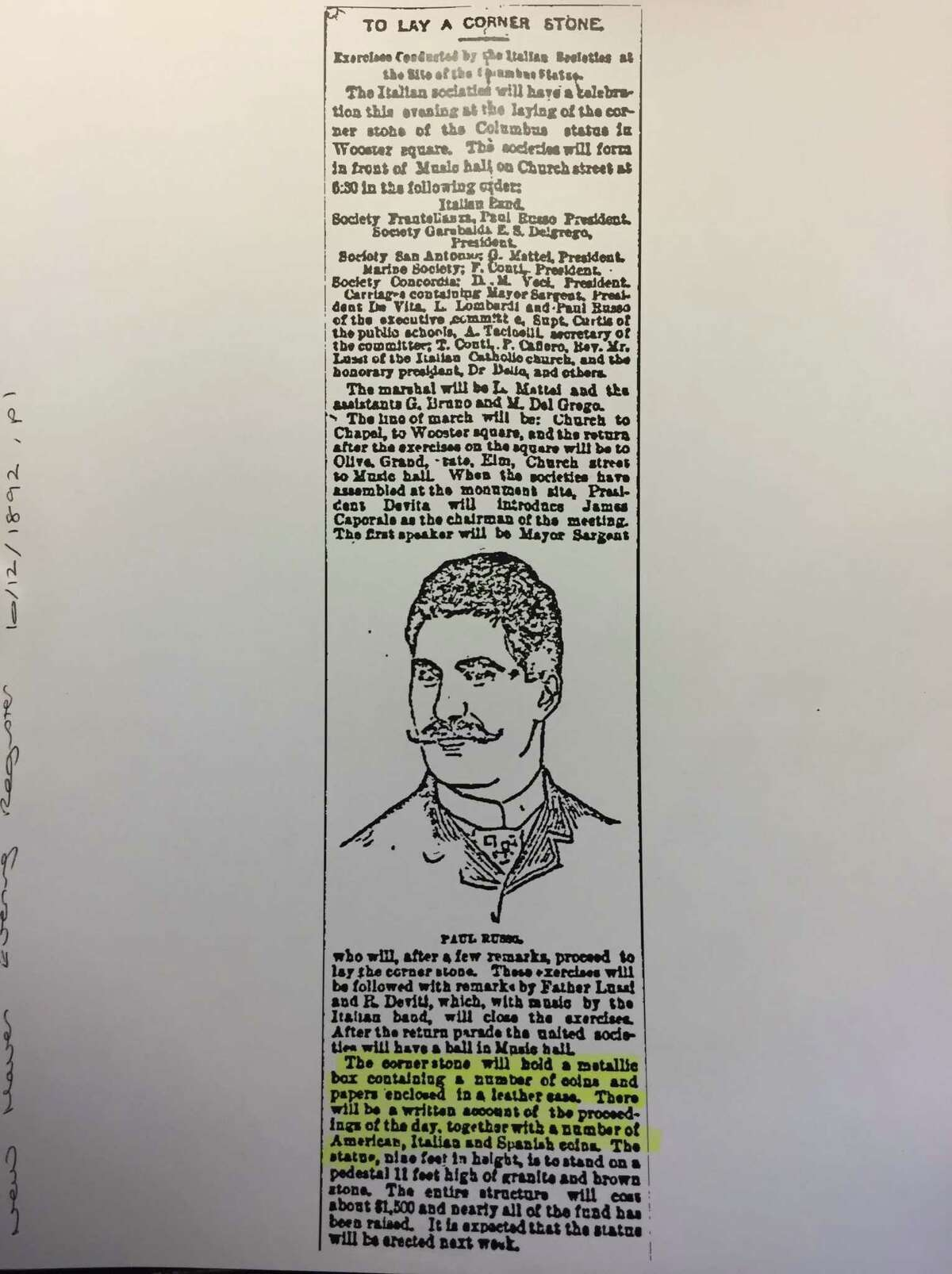 A Page 1 story in the New Haven Evening Register from Oct. 12, 1892, described the Christopher Columbus statue and the time capsule to be placed in its cornerstone.
