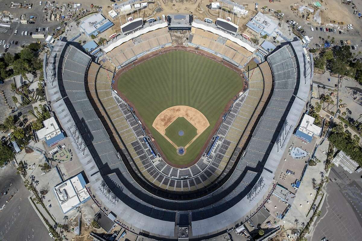 An aerial views of Dodger Stadium on March 25, 2020, a day before the Major League season opening game was to be played. (Robert Gauthier/Los Angeles Times/TNS)