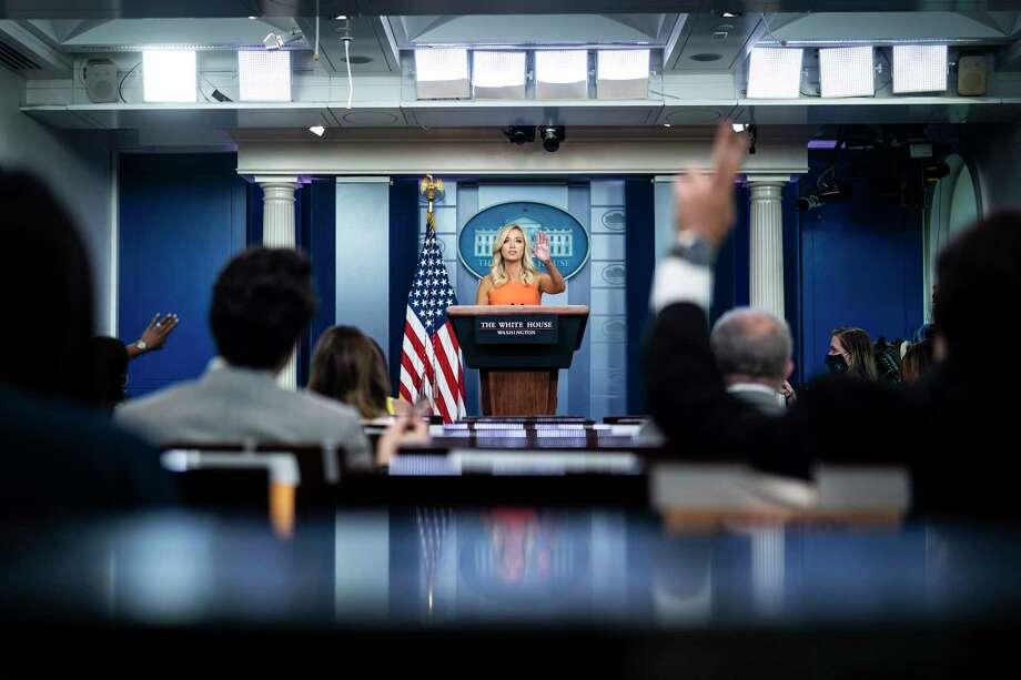 White House Press Secretary Kayleigh McEnany speaks during a press briefing at the White House on Monday. Photo: Washington Post Photo By Jabin Botsford. / The Washington Post