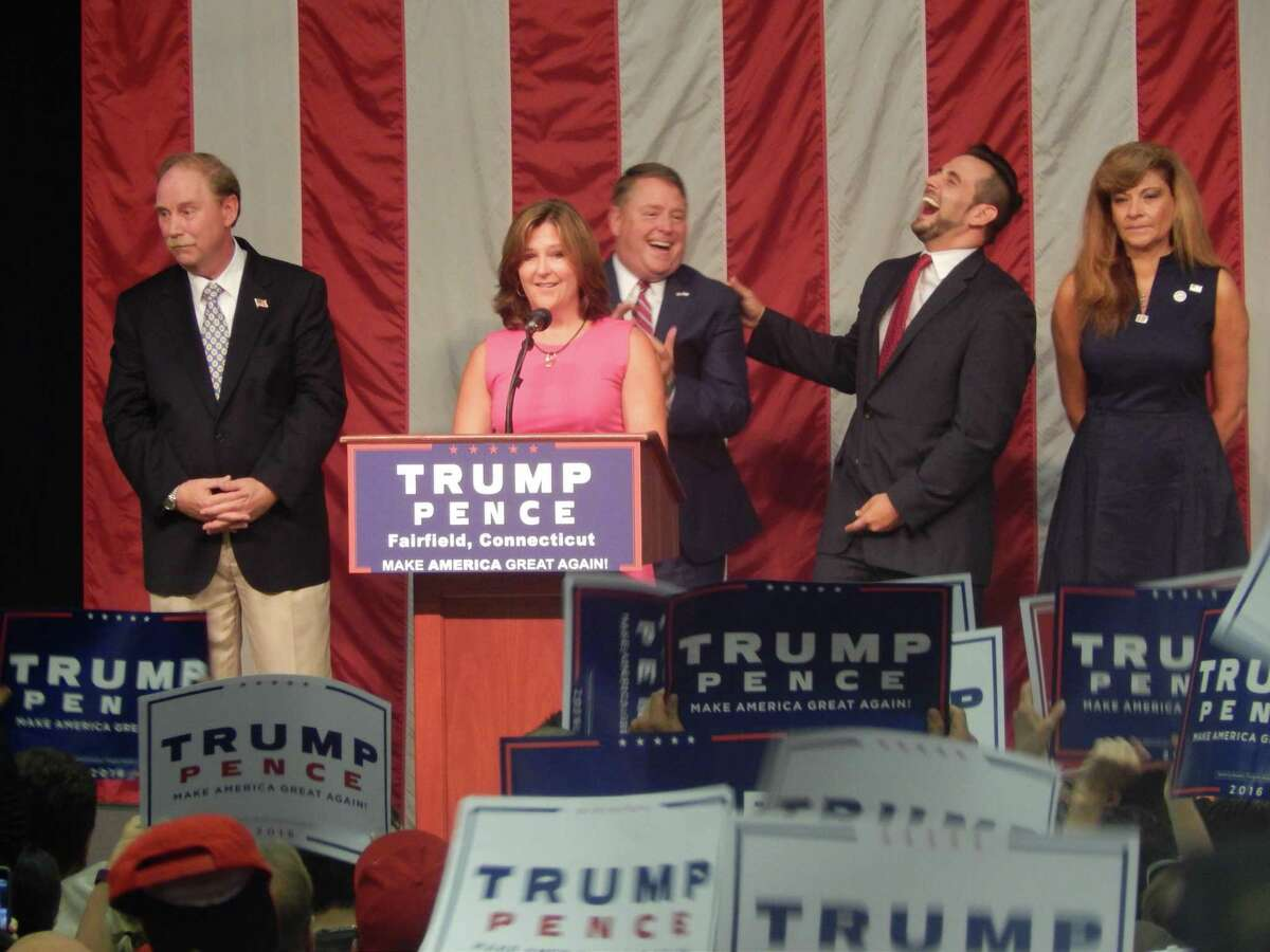State Republican leaders speak at Donald Trump's rally in Fairfield in 2016. J.R. Romano, then the state GOP chairman, is second from right.