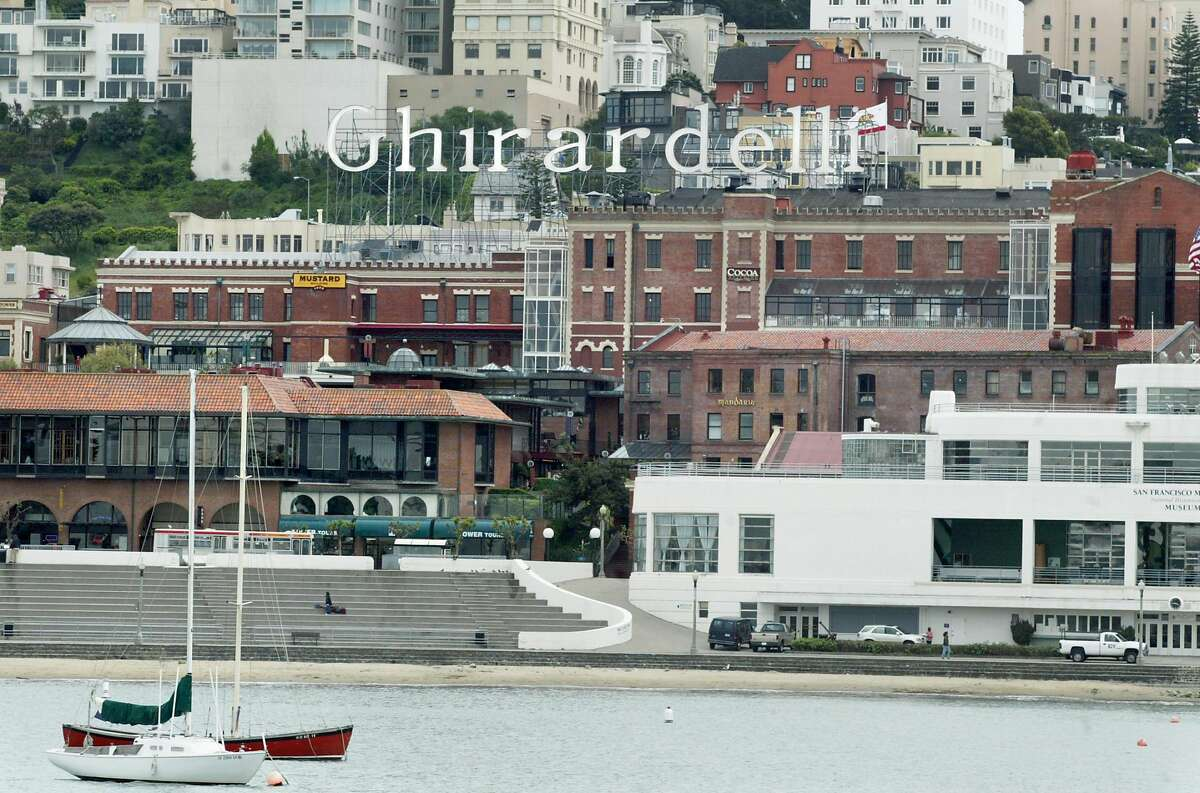 Ghirardelli Square, which was designed by Lawrence Halprin in the 1960s, as seen from the pier at Aquatic Park on May 6, 2003.