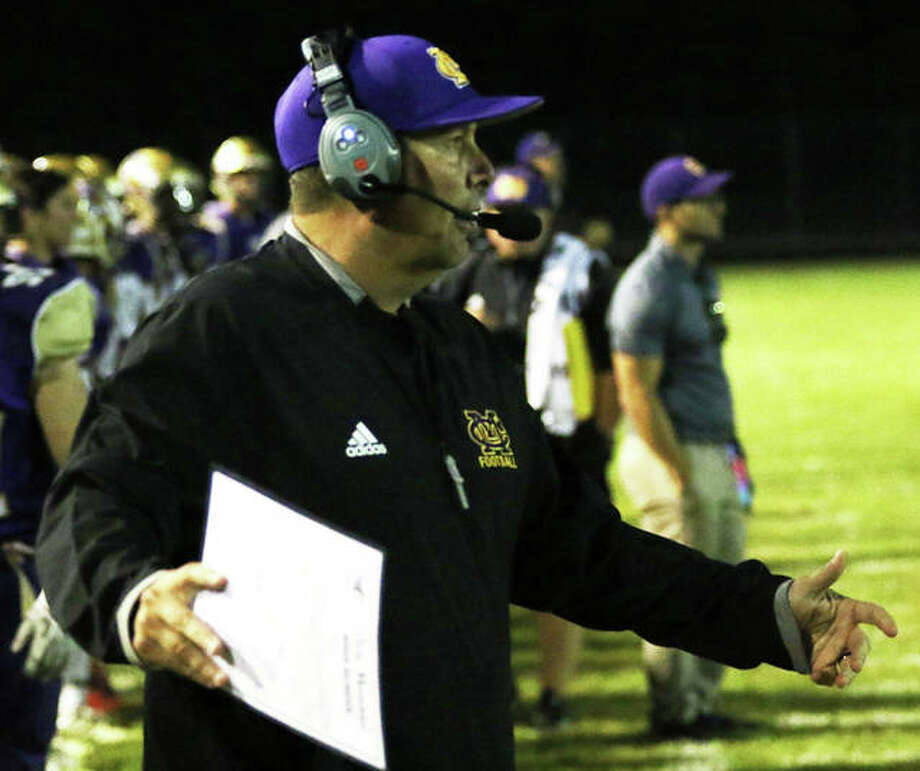 CM coach Mike Parmentier is the 2019 Telegraph Large-Schools Football Coach of the Year after leading the Eagles to a 7-3 record and their first MVC championship since 2010. Photo: Greg Shashack | The Telegraph