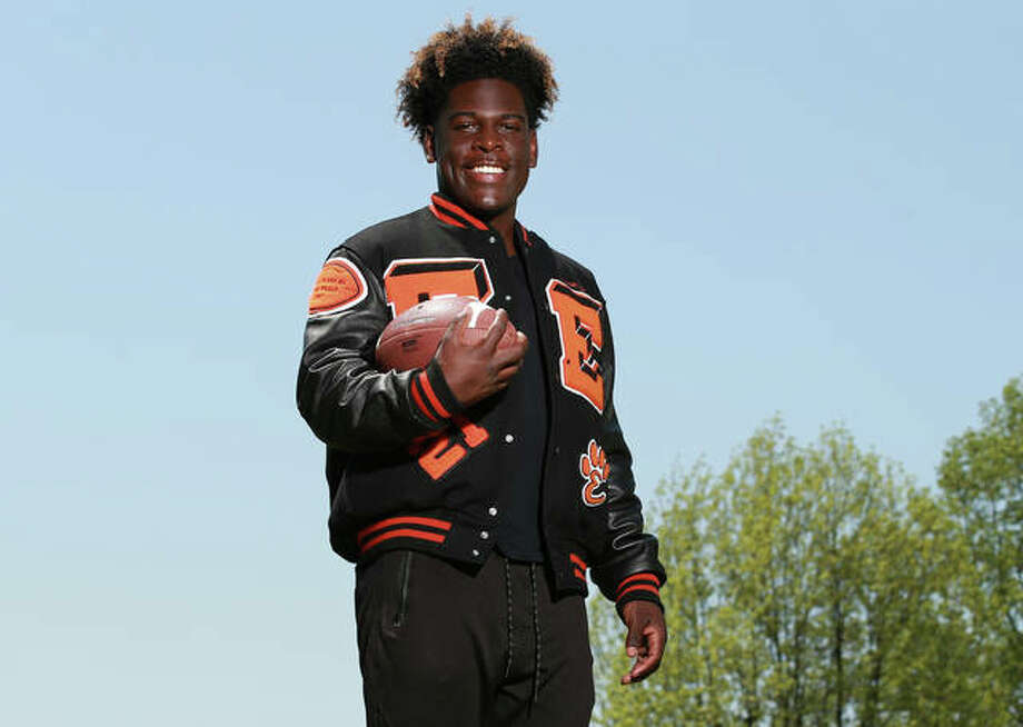 Edwardsville junior Justin Johnson is the 2019 Telegraph Large-Schools Football Player of the Year after racking up his second successive 1,000-yard season for an 8-3 Tigers squad. Photo: Billy Hurst | For The Telegraph