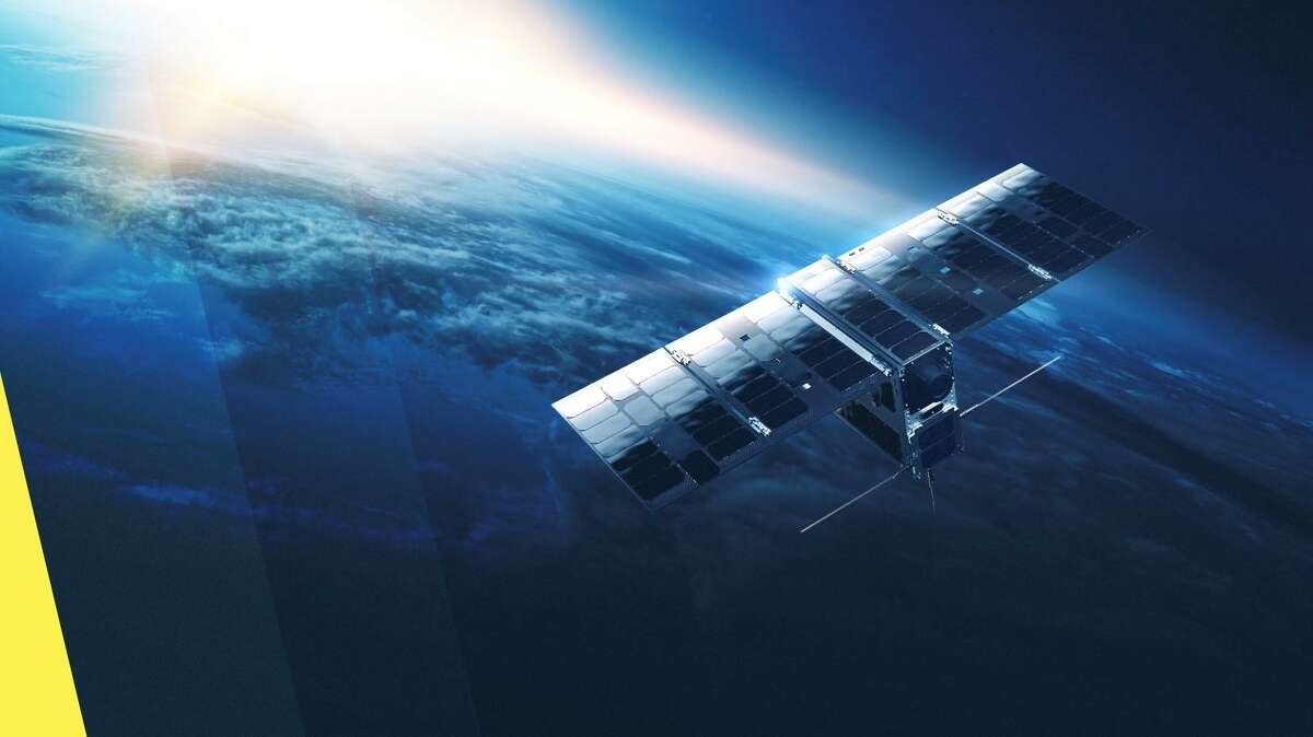 A rendering of a satellite that Hypergiant Industries is building as part of its Chameleon Constellation.