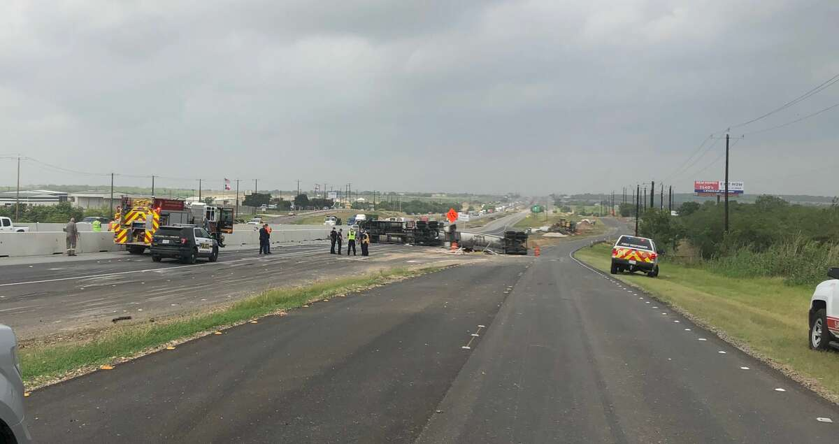 An overturned 18-wheeler has shut down several lanes of Interstate 10 near Graytown Road on Tuesday morning.