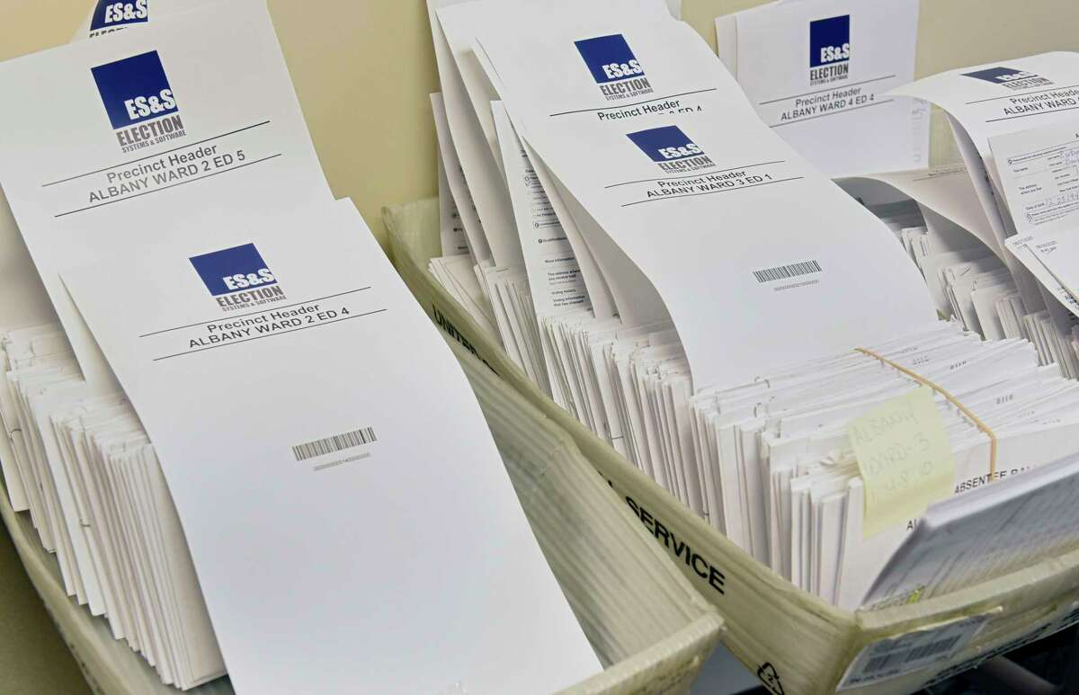 Absentee ballots are seen in bins at the Albany County Board of Elections on Tuesday, June 30, 2020 in Albany, N.Y. (Lori Van Buren/Times Union)