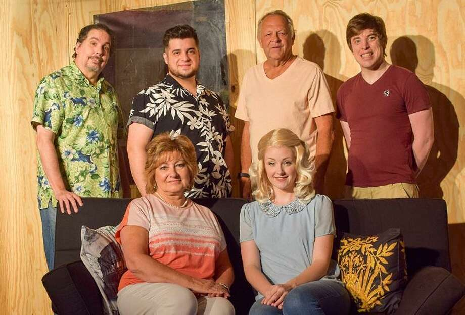 """Posing on their set while it was still under construction for Franca's Dinner Theatre's production of """"Barefoot in the Park"""" are front left, Patti Meiners and Katherine Turner; back left, Jeff Coletta, Sam Gorashko, Steve Quimby and Hunter Mehrens. Photo: Courtesy Franca's Dinner Theatre"""