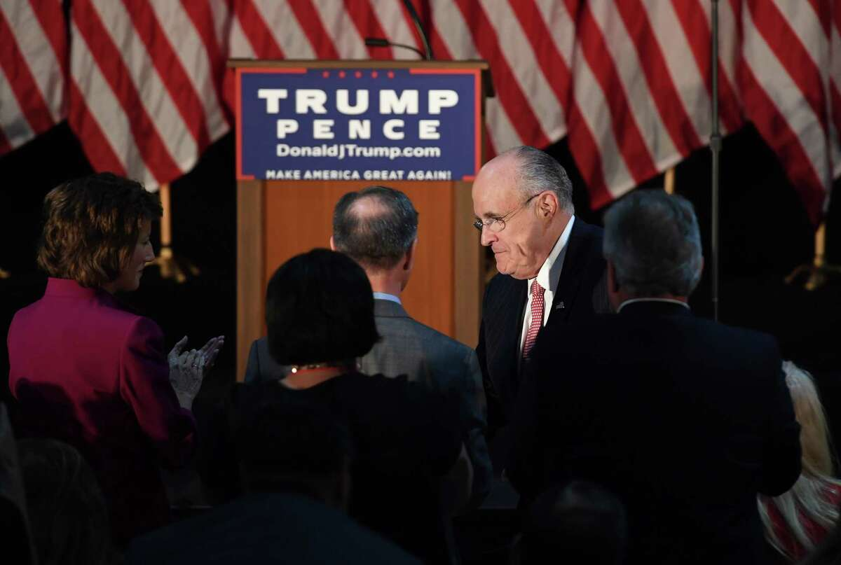 Former New York City mayor Rudy Giuliani arrives to hear then-presidential candidate Donald Trump speak at a campaign stop in Aston, Pa., in 2016.