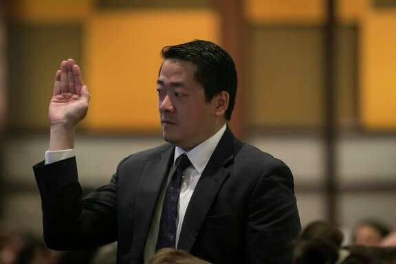 Texas Houston Representative Gene Wu waves as he is introduced during Harris County Judge Lina Hidalgo's annual State of the County address on Friday, Nov. 15, 2019, in downtown Houston.