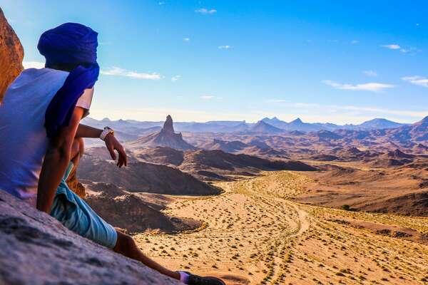 Stock photo man, blue sky in Algeria