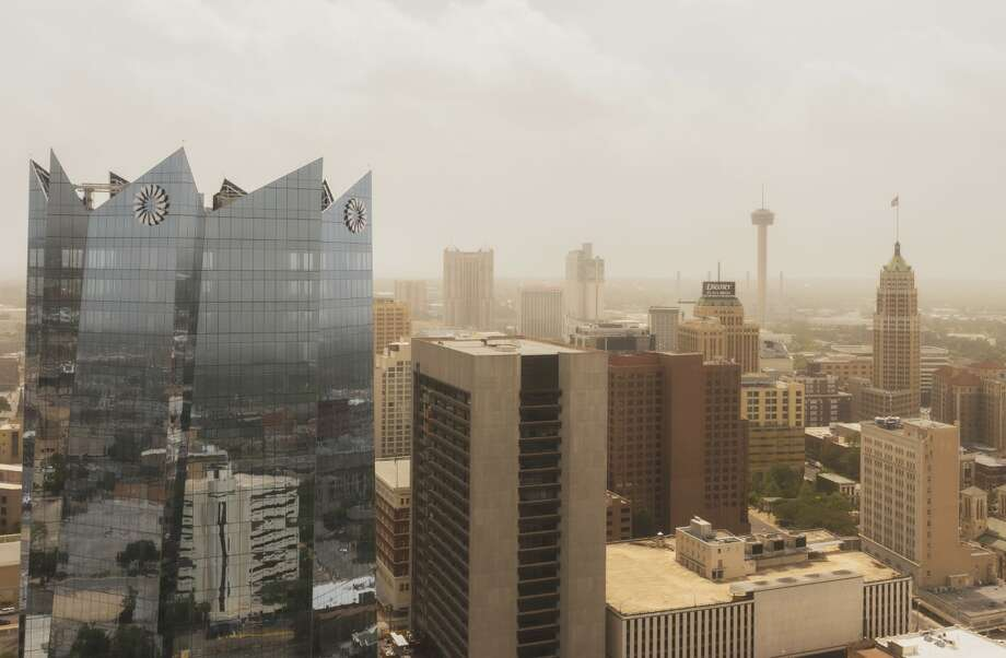 After spending days looming over Texas and the rest of the south, the massive Saharan dust plume is heading out, but not before a San Antonio photographer was able to document the rare visit over downtown in an aerial video. Photo: Courtesy, Adnan Sakib