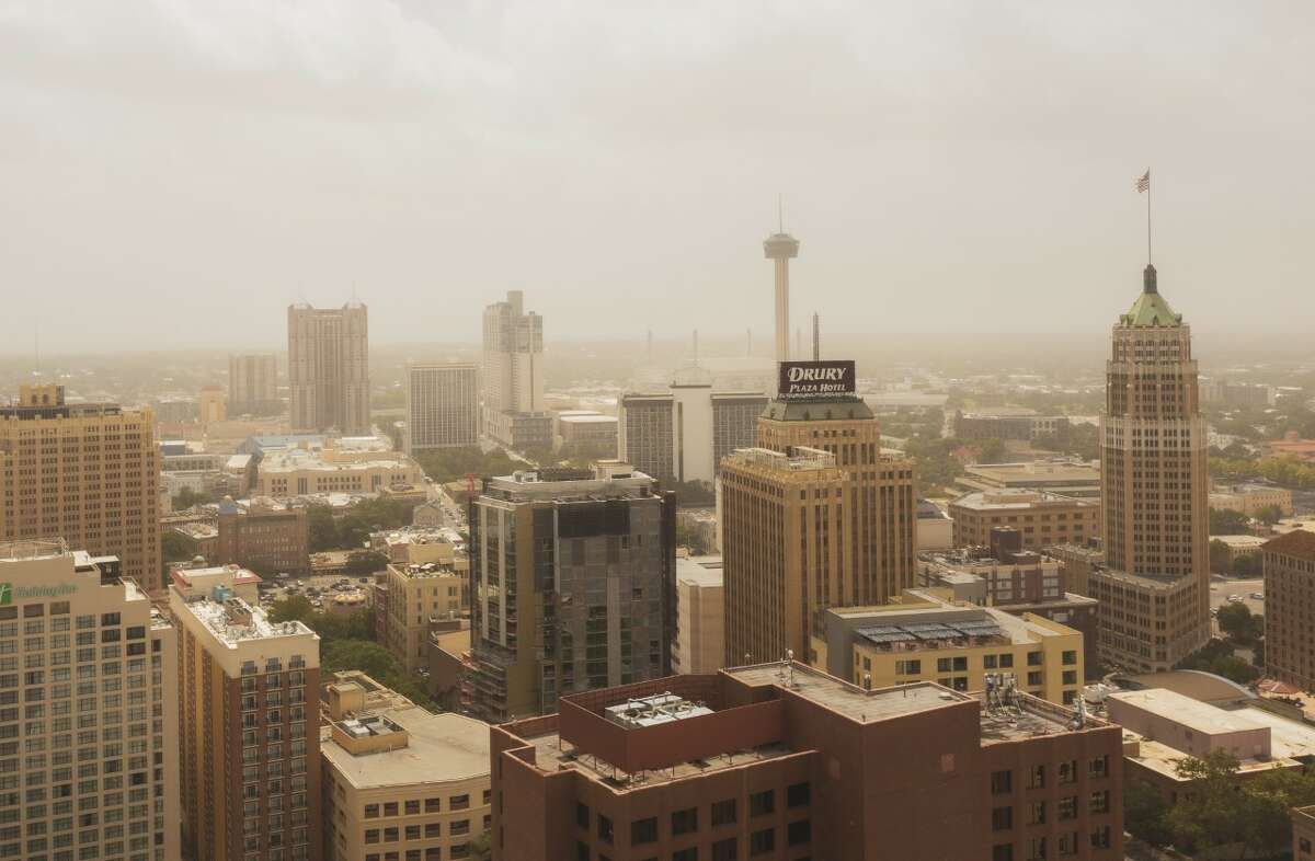 After spending days looming over Texas and the rest of the south, the massive Saharan dust plume is heading out, but not before a San Antonio photographer was able to document the rare visit over downtown in a birds-eye video.