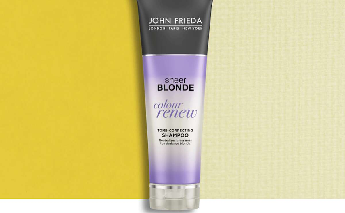 John Frieda Sheer Blonde Colour Renew Tone Correcting Shampoo Price: $10.99 This John Frieda shampoo neutralizes brassy, orange tones as it cleanses your hair. Your hair will also smell wonderful, as this is made with a lavender extract.
