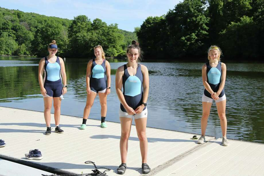 From left, members of the GMS Rowing CenterKatie Rapaglia, Sarah Rapaglia, Lily Blyn and Claire Poremba Photo: Contributed /Nancy Riggs