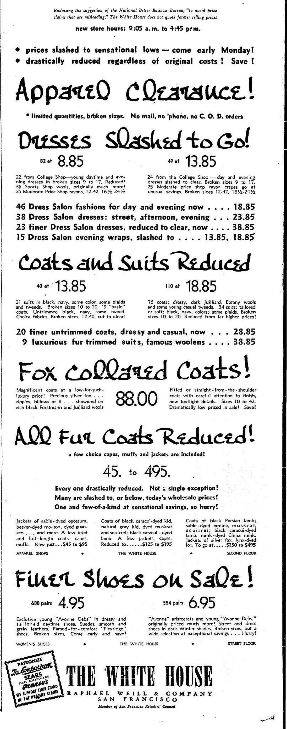 Ads of the 1940s. Chronicle display advertisement for the White House Department Store, May 28, 1941