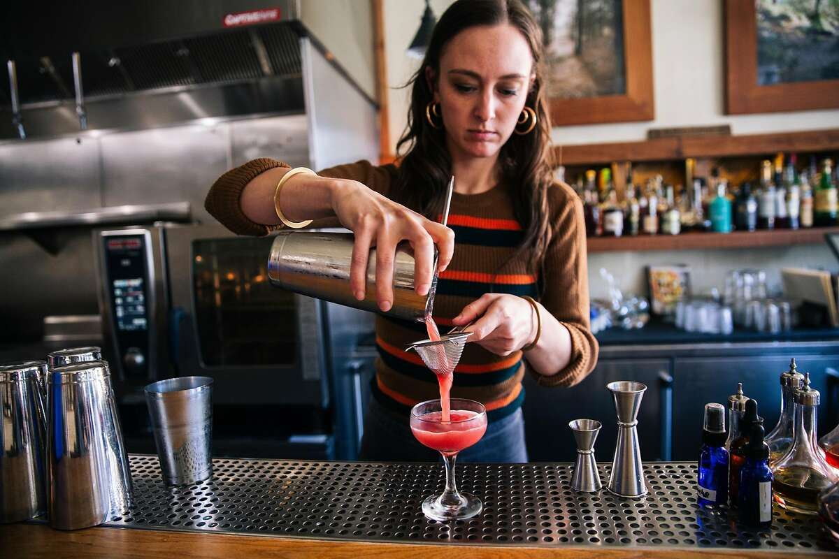 Lauren Steele of Ramen Shop creates a Hart Crane cocktail at Rich Table in San Francisco, Calif. on Tuesday, Oct. 22, 2019.