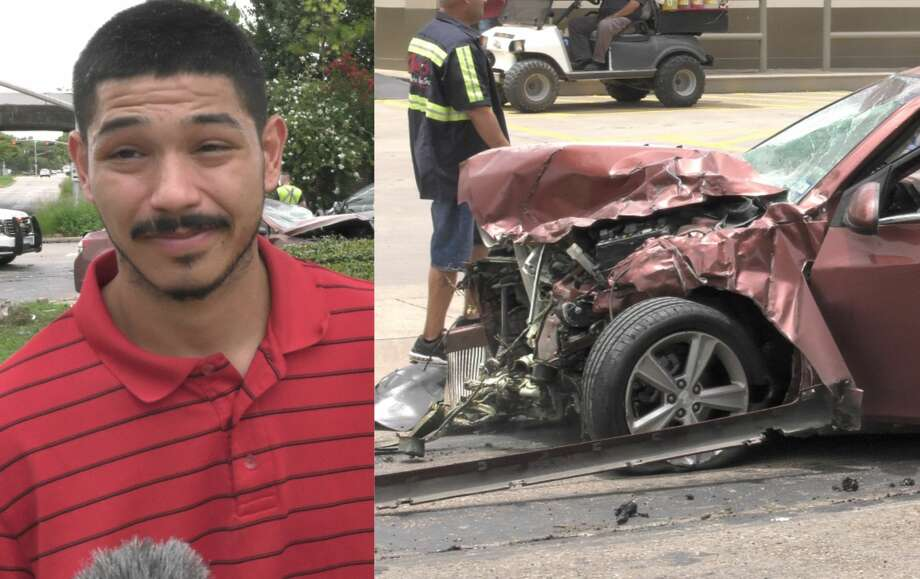 Jason Gomez had harsh words for the juveniles who carjacked his wife and crashed it during a high-speed police chase in Houston on Tuesday, June 30, 2020. Photo: Jay R. Jordan / Houston Chronicle