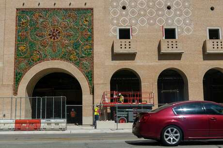 Artist Diana Kersey's ceramic mural on display on the Broadway Office Towers under construction in San Antonio, Texas on June 24, 2020.