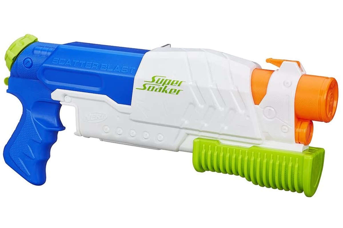 Nerf Super Soaker Scatterblast, $22.93 This is your standard pump-fire Super Soaker: Instead of a trigger, you simply pull the pump back, and five streams of water shoot out at the same time.
