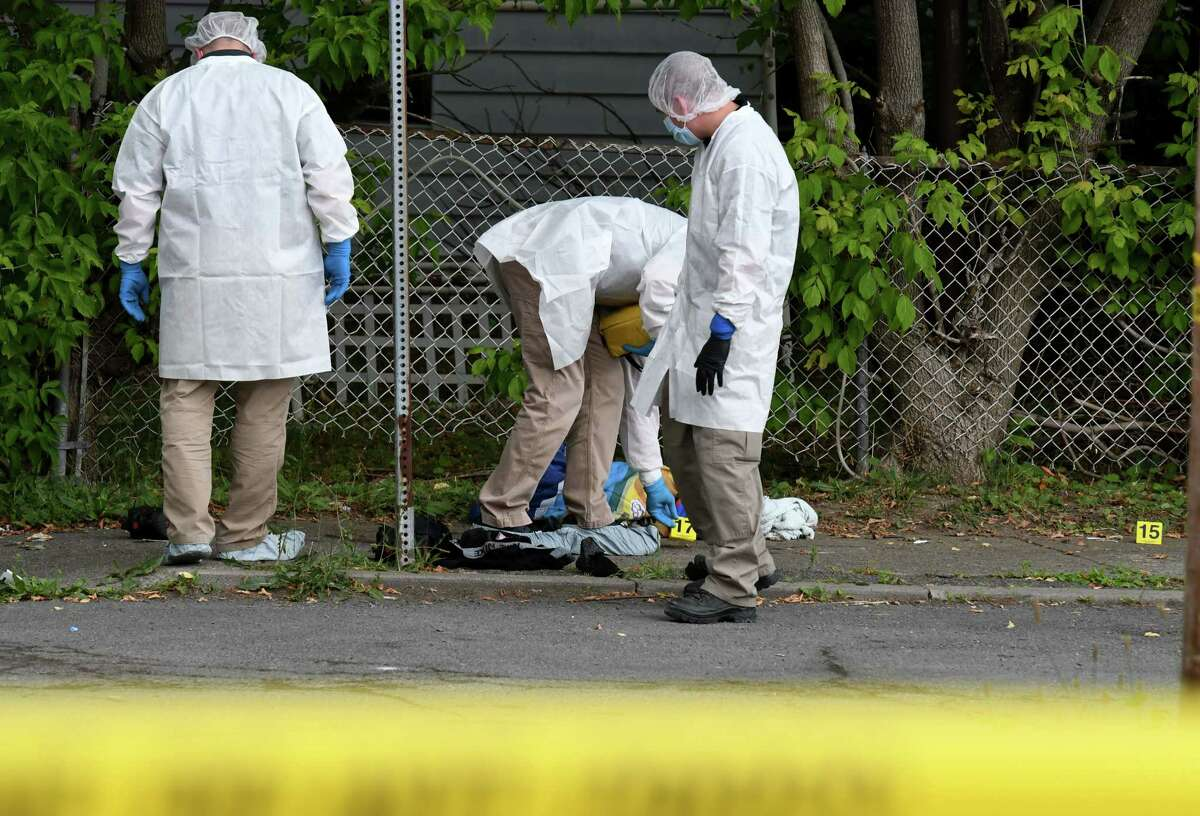 Evidence is marked at the scene of a shooting on Lansing and Schuyler streets on Tuesday afternoon, June 30, 2020, in Cohoes, N.Y. (Will Waldron/Times Union)