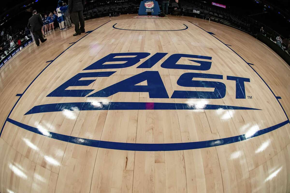 General view of the Big East Conference logo during the first half of the Big East tournament quarterfinal round game between the St. John's Red Storm and Creighton Blue Jays on March 12 at Madison Square Garden in New York. The Big East Conference Tournament will be held at the Garden as usual, but with no fans.