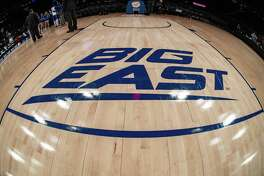 General view of the Big East Conference logo during the first half of a Big East tournament quarterfinal game between the St. John's Red Storm and Creighton Blue Jays in March at Madison Square Garden in New York.