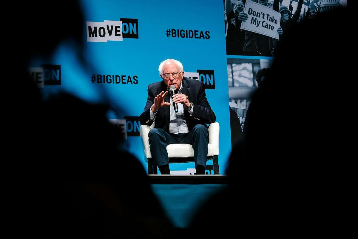Senator Bernie Sanders speaks during the MoveOn Big Ideas Forum conference held at the Warfield Theater in San Francisco, Calif., on Saturday, June 1, 2019.